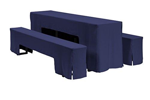 Dena 637018 Hussen-Set Arcade für Festzeltgarnitur, 100% Polyester, 220 x 70 cm, Navy