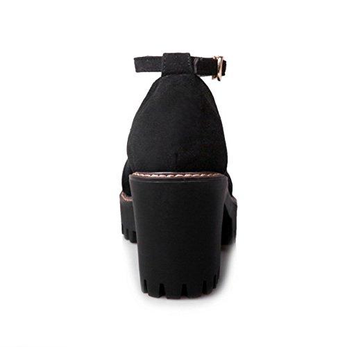COOLCEPT Femmes Mode Cheville Court Chaussures Bout Ferme Bloc Escarpins Chaussures Noir