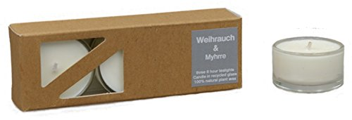 Frankincense 3 beduftete & MYHRRE natural tealights in recycled Glashüllen from plant,...