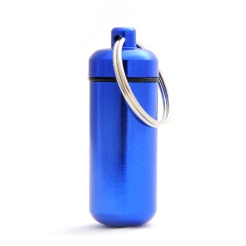 Ganzoo Pillen-Dose, Pillen-Box, Aluminium-Kapsel, Schlüssel-Anhänger mini, wasserdicht, Farbe: blau, Höhe: 45mm