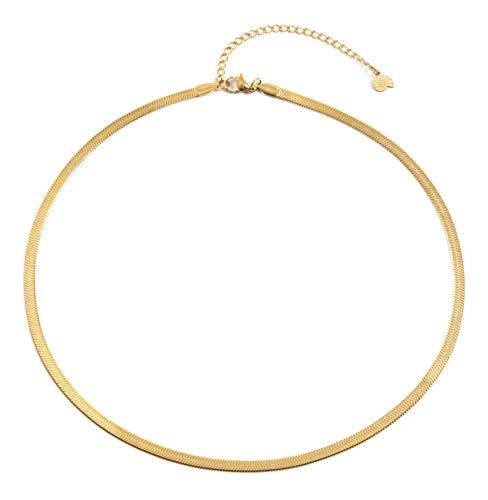 Happiness Boutique Damen Schlangenkette in Goldfarbe | Schlichte Kette ohne Anhänger aus Edelstahl