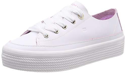 Tommy Hilfiger Leather Flatform Sneaker Scarpe da Ginnastica Basse Donna, Bianco (White 100) 38 EU