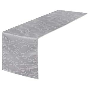 EUGAD Abwaschbar Tischläufer/Tischdecke Wasserabweisend Damast Streifen Wellen Design mit Saum, Einfache und Elegante Heimtextilien für Den Innen- und Außenbereich (Silbergrau, 40x100 cm)