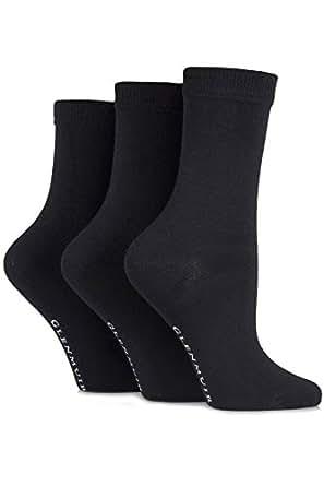 Glenmuir Ladies 3 Pair Classic Plain Bamboo Socks 4-8 Ladies Black
