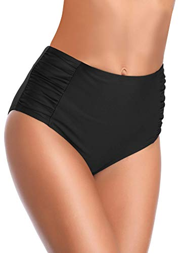 SHEKINI Damen Retro mit hohen Taille und Bikinihose mit rüschen besetzten Side Badeshorts Tankinis klein Manhattan -