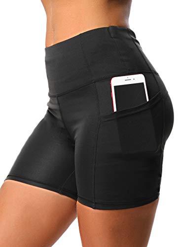 INSTINNCT Damen Kurz Leggings Sportshort High Waist mit seitlichen Taschen Medium (Running Short Tight)
