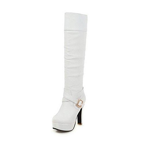 VogueZone009 Damen Hoch-Spitze Weiches Material Hoher Absatz Spitz Zehe Stiefel, Weiß, 36