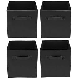 Clay Roberts Cubes de Rangement Pliables, Pack de 4, Noir, Boîtes de Rangement Ouvertes pour Maisons/Bureaux/Salle de Bains