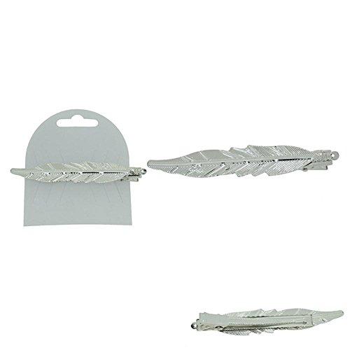 Barrette pour Cheveux en Métal Argenté - Forme de Feuille - 10cm