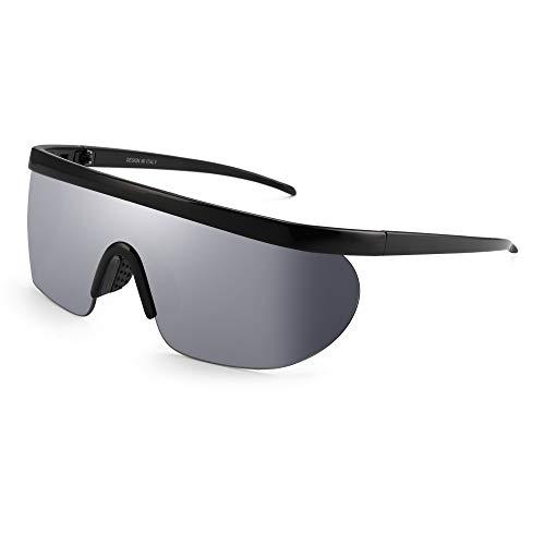 JIM HALO Oversized Flach Top Schild Sonnenbrille Ein Stück Spiegel Brillen Damen Herren(Schwarzer Rahmen/Spiegel Silberlinse)