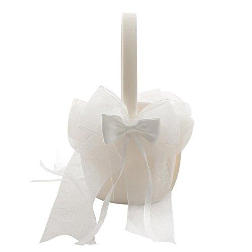 Panier de Fleurs de Bonbons Exquis Panier de Fleurs de Mariage Bonbons Romantique Mignon Double Arc pétale en Forme de Satin Corbeille de Fleurs à la Main pour Fleur Filles garçons mariées