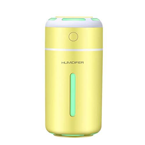 Humidifier Buntes Nachtlicht USB-Minibefeuchter-Schlafzimmer, das Aromatherapie-Maschinenluftreiniger hydratisiert JF (Color : Yellow)