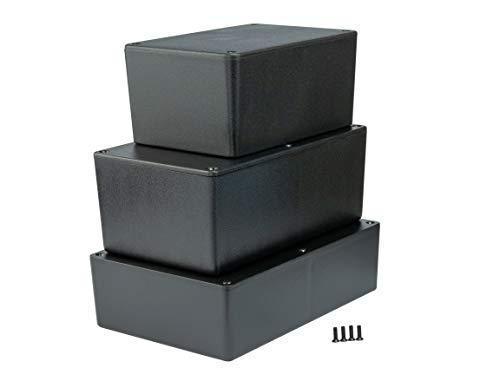 MB7 - ABS Kunststoffgehäuse mit Deckel, Mehrzweckgehäuse, Modulgehäuse, (LxBxH) 177 x 120 x 83 mm, mit Leiterplattenführung, Schwarz - Matt (Elektronik-gehäuse)