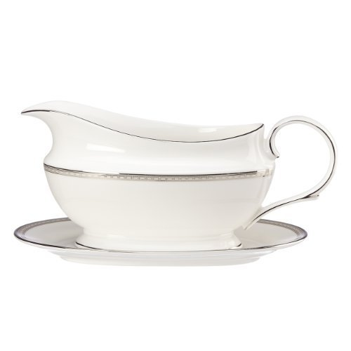Lenox Murray Hill Sauce Boat and Stand, White by Lenox Lenox Sauce Boat