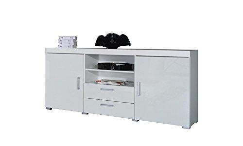 Furniture24 Sideboard Kommode Samba Hochglanz (Weiß/Weiß Hochglanz)