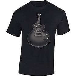 T-Shirt: Guitare - Guitariste - Band - Groupe - Musique Music - Tee-Shirt pour Femme-s et Homme-s - Fan-s - Rock - Heavy Metal - Bass-e - Concert Festival Tour Show - Cadeau - Guitar (Noir XL)