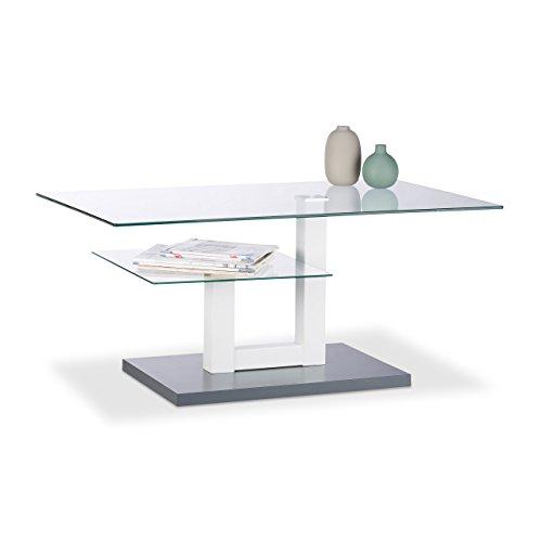 Relaxdays–Mesa de Cristal, Rectangular, Tablero de Cristal, Bandeja pequeña, Original sofá Mesa, Medidas: 45x 100x 60cm, Gris