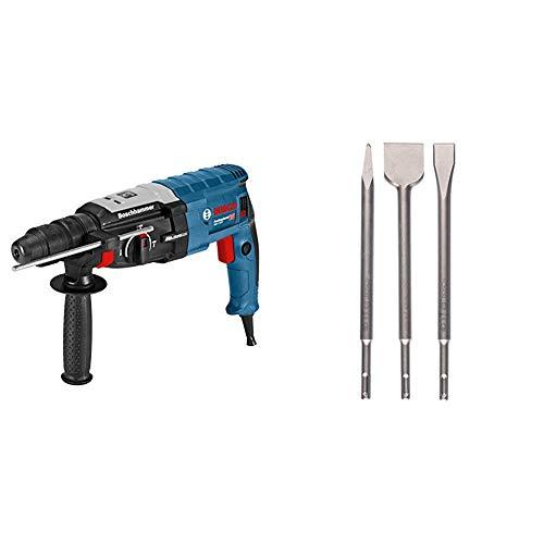 Bosch Professional Bohrhammer GBH 2-28 F (880 Watt, Bohr-Ø Beton max: 28 mm, SDS-plus, in L-Boxx Systemkoffer) + SDS-plus Meißel 3 tlg.-Set (Beton, Mauerwerk)