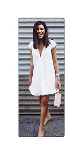 New Women Sexy Casual Long Tops Ladies Summer Loose Casual Short Sleeves V-Neck Mini Dress Size S-XXXL White XL