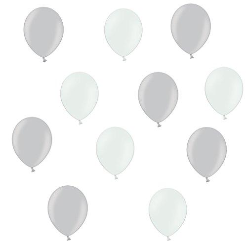 50 Premium Luftballons in Silber/Weiß - Made in EU - 100% Naturlatex somit 100% giftfrei und 100% biologisch abbaubar - Geburtstag Party Hochzeit Silvester Karneval - für Helium geeignet - twist4®