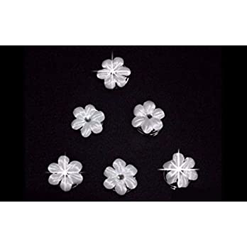 6 Curlies Haarnadeln Braut Kommunion Blume Strass weiß, ivory