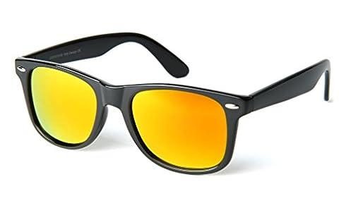corciova Reflective Revo Large Horn Rimmed Style Uv400 Wayfarer Sunglasses Black Frame Gold Mirror Lens Come with Black Case