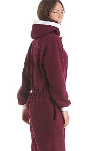 Schlafanzug-Einteiler mit Kapuze - dunkelrot Rot