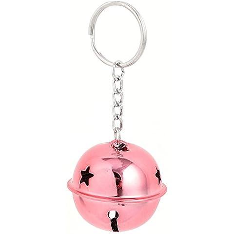 Hueco Diseño Metal Árbol De Navidad Fiesta Ring Bell Adorno 40mm Dia Rosa