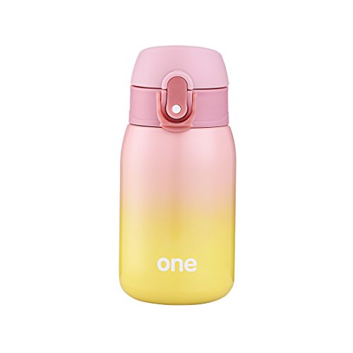 ZDZDZ 260ML Mini Größe Edelstahl Thermoskanne, Thermos Kaffee Reisen Tasse 14*6.5cm (Pink-Yellow)