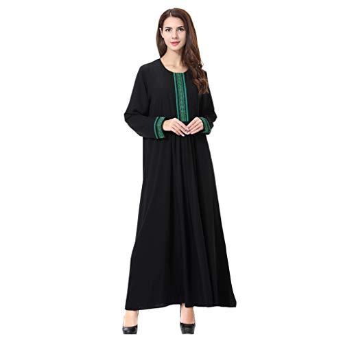 Mitlfuny Damen Vintage Rockabilly Swing Kleider,Frauen moslemisches arabisches islamisches nahes festes Druck-langes Hülsen-Abaya Kleid