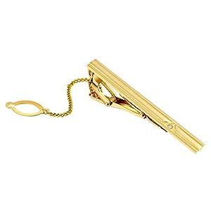 Daesar Hochzeit Krawattenklammer Gold Silber Rechteck Zirkonia mit Kette Herren Edelstahl Krawattenklammer Hemd mit Geschenkbox