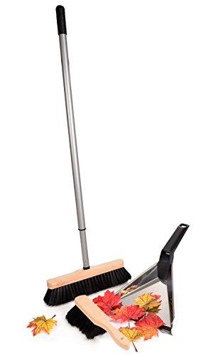 Bluespoon Kehrset aus Holz und Kunststoff 3 teilig | Mit Edelstahlschaufel und Teleskopstiel bis max. 140 cm | Kehrgarnitur bestehend aus Besen und Handkehrer | Kehrbesenset mit Gesamgewicht von 1kg