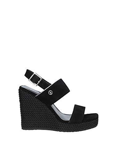 Liu Jo S19095 Sandalo Zeppa Alta camoscio Nero Giallo Cinturino - Taglia Scarpa 36 Colore Nero