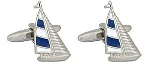 Sailing Yacht mit Blau und Weiß Sail–Rhodium Teller Manschettenknöpfe. Ein tolles Paar Manschettenknöpfe/Krawatte Clip oder othet Zubehör... das ideale Geschenk für einige One besonderen.