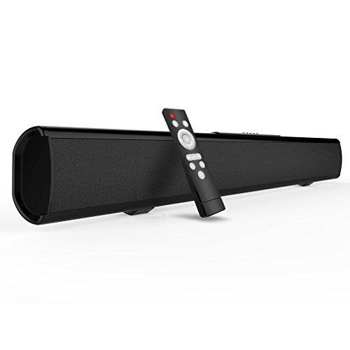 Soundbar Bluetooth Lautsprecher Meidong 2.1 Kanal 2 Subwoofer speakers, 40W Lautsprecher mit & ohne Kabel, an Wand Montierbare Bluetooth Soundbar (3.5mm/RCA/Optischer Eingang – Fernbedienung) (Subwoofer Mit Sound Bar)