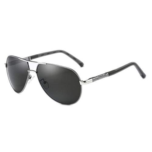DEER HOUSE Sonnenbrille für Herren, polarisiert, UV400, Metall, Schwarz Gr. Einheitsgröße, Gun Silver Gray