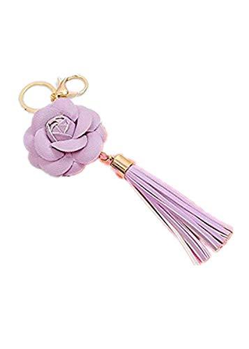 Lila Nappa-leder (YONGYAO Pu Tassel Schlüsselanhänger Leder Camellia Rose Pendant Autoschlüssel Ring Handtaschen Tasche Ornamente-Lila)