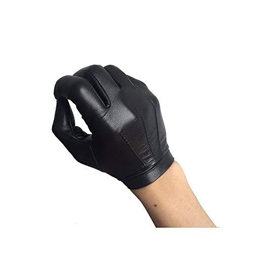 Benutzerdefinierte Winter-handschuhe (Lederhandschuhe Ziegenleder-Handschuhe Männer Fahren dünnen Abschnitt einschichtigen Touchscreen Lederhandschuhe Winter Plus Samt warme Lederhandschuhe benutzerdefinierte (Color : Black, Size : S))