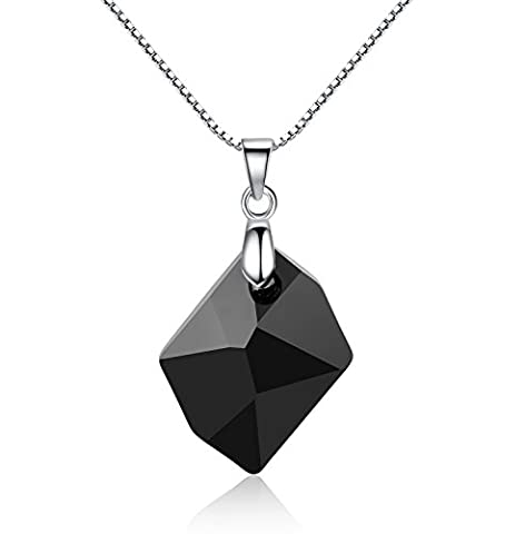 GoSparkling Pendant Necklace- Jet Black Crystal Sterling Silver Chain Women Necklace- Made of 100% Austrian Crystal- Classy And Elegant- A Stunning Jewel!- Perfect Gift For Every Woman NL-68163