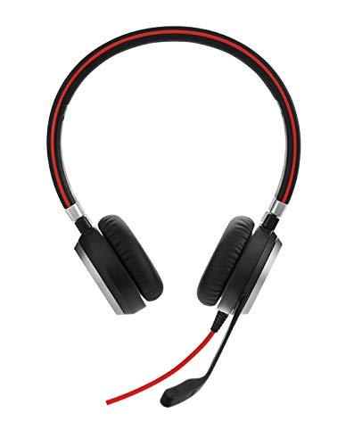 Jabra Evolve 40 Stereo Cuffie con Microfono, Solo con Jack 3.5 mm, senza Controller USB, Ottimizzate per Unified Communications