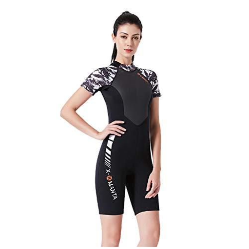 AIni Damen Neoprenanzug,Sexy Sport Shorty Neoprenanzug Stretch Tauchen Anzug Schnorcheln Badeanzug Surfen Overall 1,5 mm Wetsuit Schwimmen Surfanzug Surfen Tauchen (XL,Weiß)