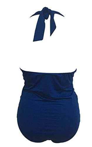 Feoya donna vintage con allacciatura dietro al collo One Piece Monokinis costume da bagno Blu scuro