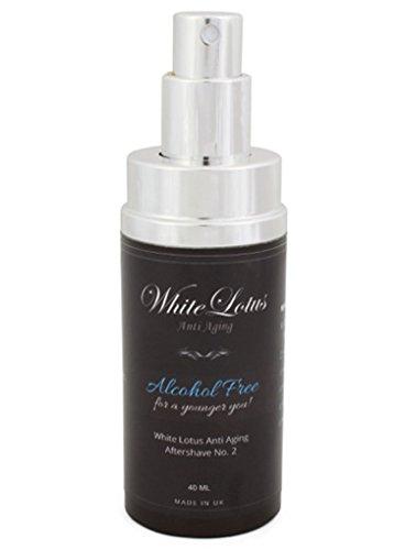 Dopobarba senza alcol - dopobarba naturale lozione No.2 della White Lotus Anti Aging - profumo senza alcol con puro olio di attar - idrata la pelle secca - riduce le rughe ed il rossore - 40 ml