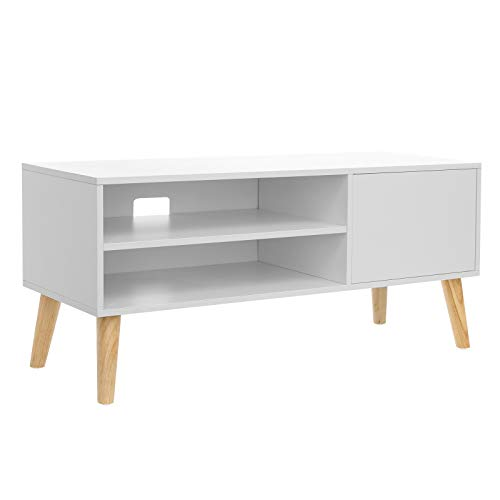 VASAGLE Lowboard im skandinavischen Stil, TV-Regal, Fernsehtisch, Fernsehschrank, für Ihren Flachbildschirm, Spielekonsolen, Wohnzimmer, Büro, weiß LTV09WT