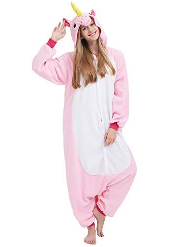 Jumpsuit Onesie Tier Karton Fasching Halloween Kostüm Sleepsuit Cosplay Overall Pyjama Schlafanzug Erwachsene Unisex Lounge Kigurumi Rosa Einhorn for Höhe 140-187CM