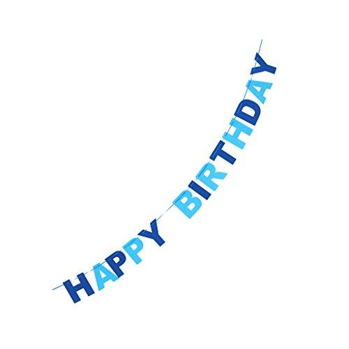 (Generic 2.8m HAPPY BIRTHDAY , Alles Gute Zum Geburtstag , Filz Wimpel Fahnen Girlande Banner Kind Baby Geburtstag Partei Dekor - Blau)