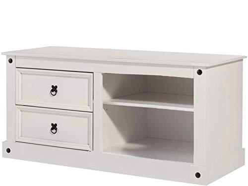 HiFi TV-Bank Board Lowboard Fernsehtisch Fernsehschrank Wohnzimmer Schrank Kiefer Holz massiv weiß Landhaus 2 Schubladen