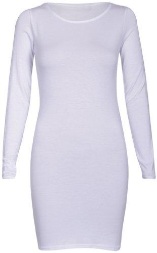 ... Neu Damen Langärmlig T-Shirt Kleid Oberteile Damen Schlicht Bodycon  Stretch Fit Plus Größe Oben