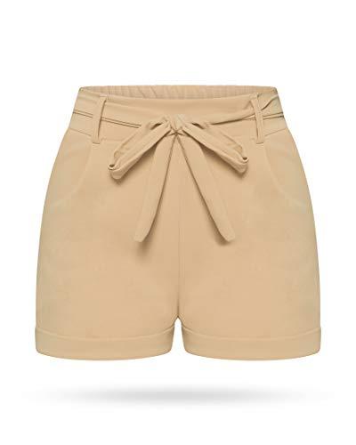 Kendindza Collection Kendindza Damen Sommer Shorts | Kurze Hose mit Schleife zum binden | Bermuda | Uni-Farben (S/M, Beige)