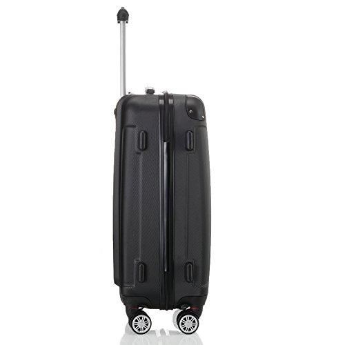 2045 Hartschale Koffer Trolley Reisekoffer einzelgröße XL-L-M in 10 Farben (L, Schwarz) - 4